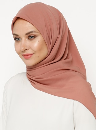 Dusty Rose - Plain - Chiffon - Scarf - Gülsoy