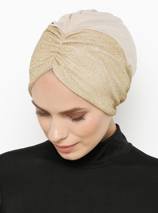 Beige - Gold - Plain - Bonnet
