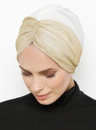 White - Gold - Plain - Bonnet