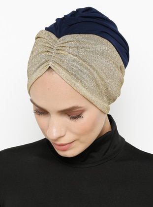 Navy Blue - Gold - Plain - Bonnet