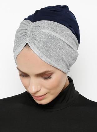 Navy Blue - Silver tone - Plain - Bonnet