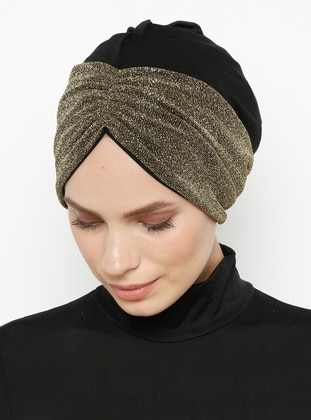 Black - Gold - Plain - Bonnet