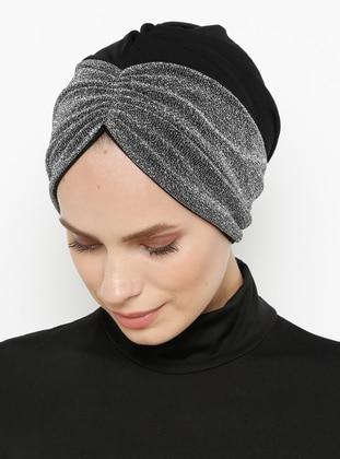 Black - Silver tone - Plain - Bonnet