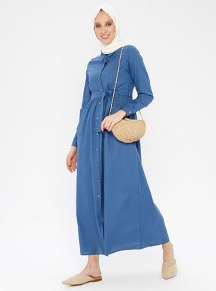 Indigo - Point Collar - Unlined - Cotton - Dress