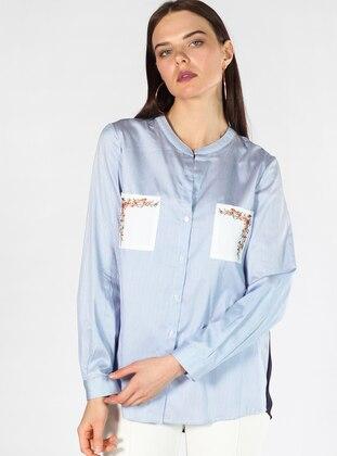 6716379401815 Mavi Bluz / Gömlek Modelleri ve Fiyatları - Modanisa.com - 2/4