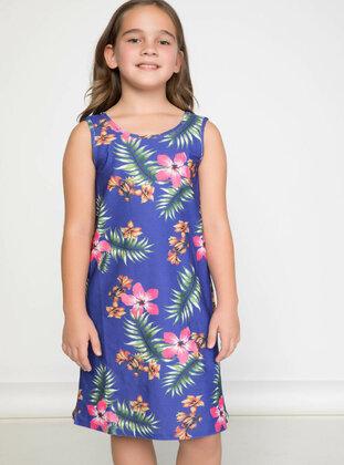 Navy Blue - Girls` Dress
