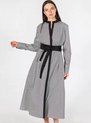 Black - Stripe - Crew neck - Fully Lined - Cotton - Dress