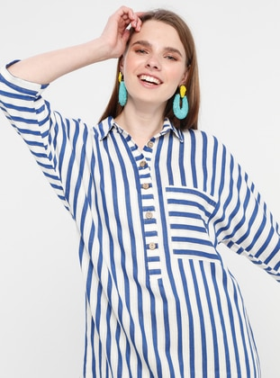 Saxe - Stripe - Point Collar - Blouses