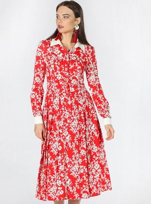 Red - Ecru - Multi - Point Collar - Unlined - Dress