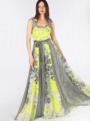 Yellow - Multi - Fully Lined - Dress