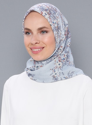 Blue - Navy Blue - Printed - Cotton - Scarf