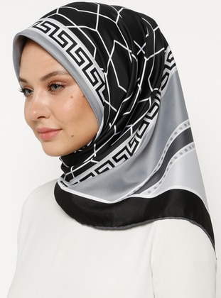 Black - Gray - Printed - Scarf