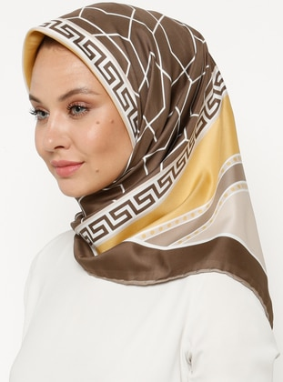 Brown - Printed - Scarf