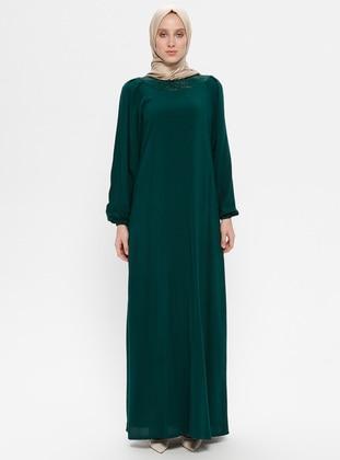 Green - Emerald - Crew neck - Unlined - Viscose - Dress