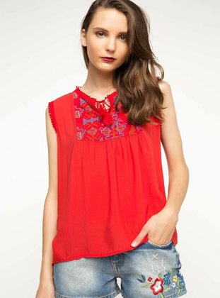 Red - Girls` Blouse