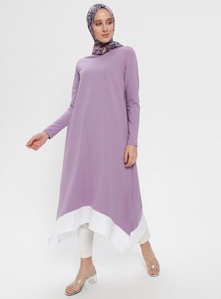 Lilac - Crew neck - Cotton - Tunic