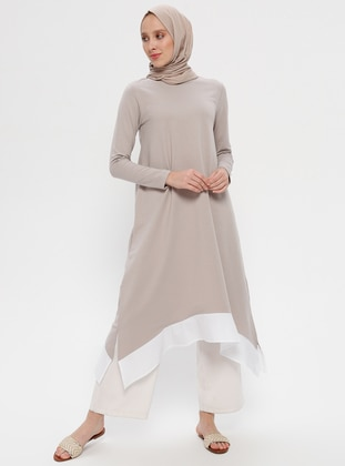 Beige -  - Crew neck - Cotton - Tunic