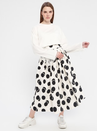 Black - Ecru - Polka Dot - Skirt