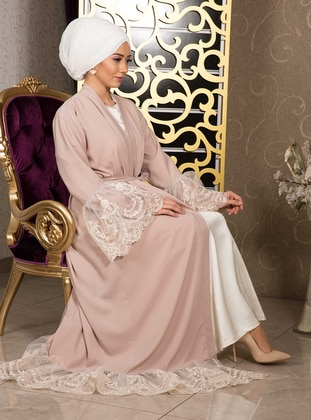 Powder - Unlined - V neck Collar - Cotton - Abaya