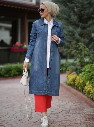 Blue - Unlined - Button Collar - Denim -  - Jacket - Neways