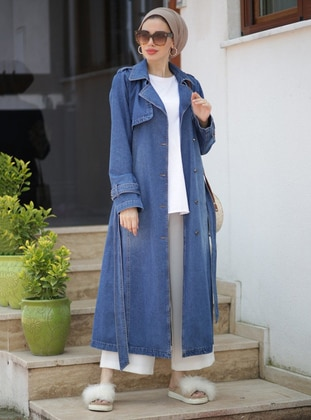 Blue - Shawl Collar - Cotton - Denim - Trench Coat - Neways