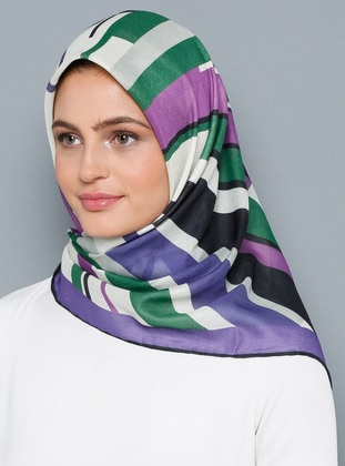 Purple - Printed - Cotton - Scarf