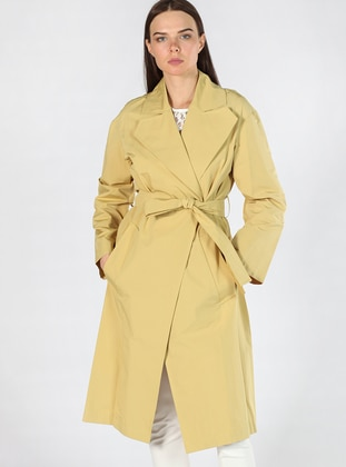 Yellow - Fully Lined - Shawl Collar - Trench Coat