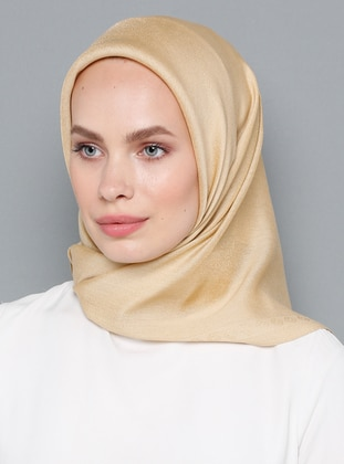 Beige - Gold - Plain - Scarf