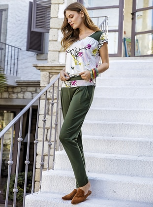 Viscose - Green - Loungewear Suits - Suxe