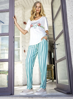 Viscose - Turquoise - Loungewear Suits - Suxe