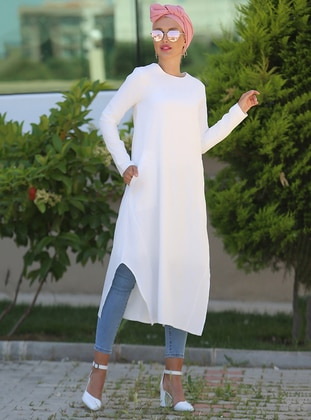 White - Crew neck - Cotton - Tunic - Myzen