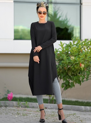 Black - Crew neck - Cotton - Tunic - Myzen