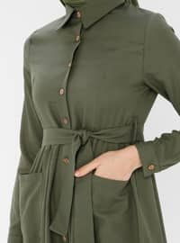 Khaki - Point Collar - Unlined - Cotton - Dress
