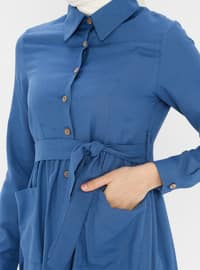 Indigo - Point Collar - Unlined - Cotton - Dress