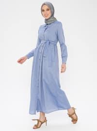 Blue - Point Collar - Unlined - Cotton - Dress