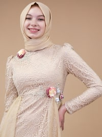 Beige - Muslim Evening Dress