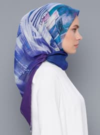 Blue - Lilac - Printed - Cotton - Scarf
