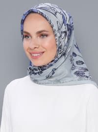 Blue - Printed - Cotton - Scarf