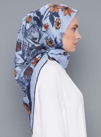 Blue - Printed - Cotton - Scarf