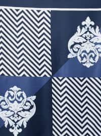 White - Navy Blue - Printed - Scarf