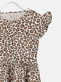 Printed - Brown - Girls` Dress