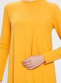Yellow - Mustard - Crew neck - Cotton - Tunic