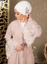 Powder - Unlined - V neck Collar - Cotton - Abaya