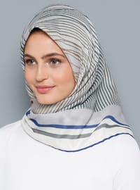 Gray - Printed - Cotton - Scarf