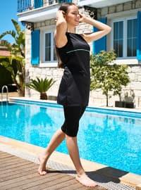 Black - Stripe - Half Covered Switsuits