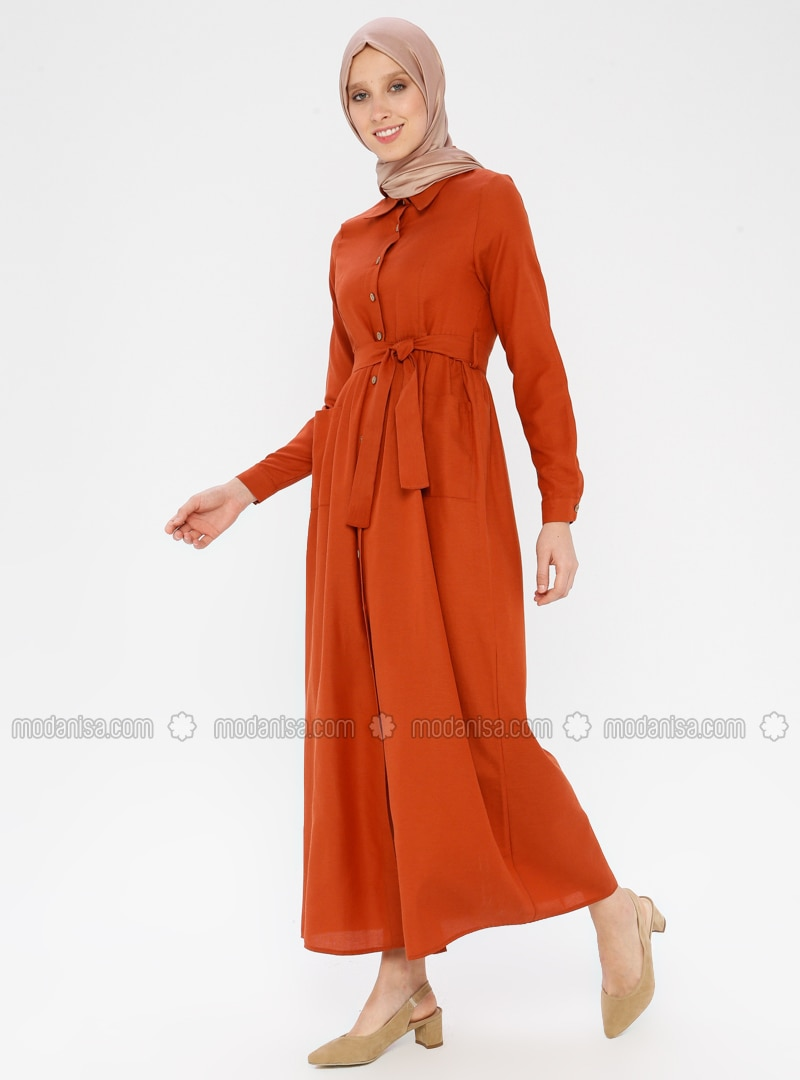 Tan - Point Collar - Unlined - Cotton - Dress