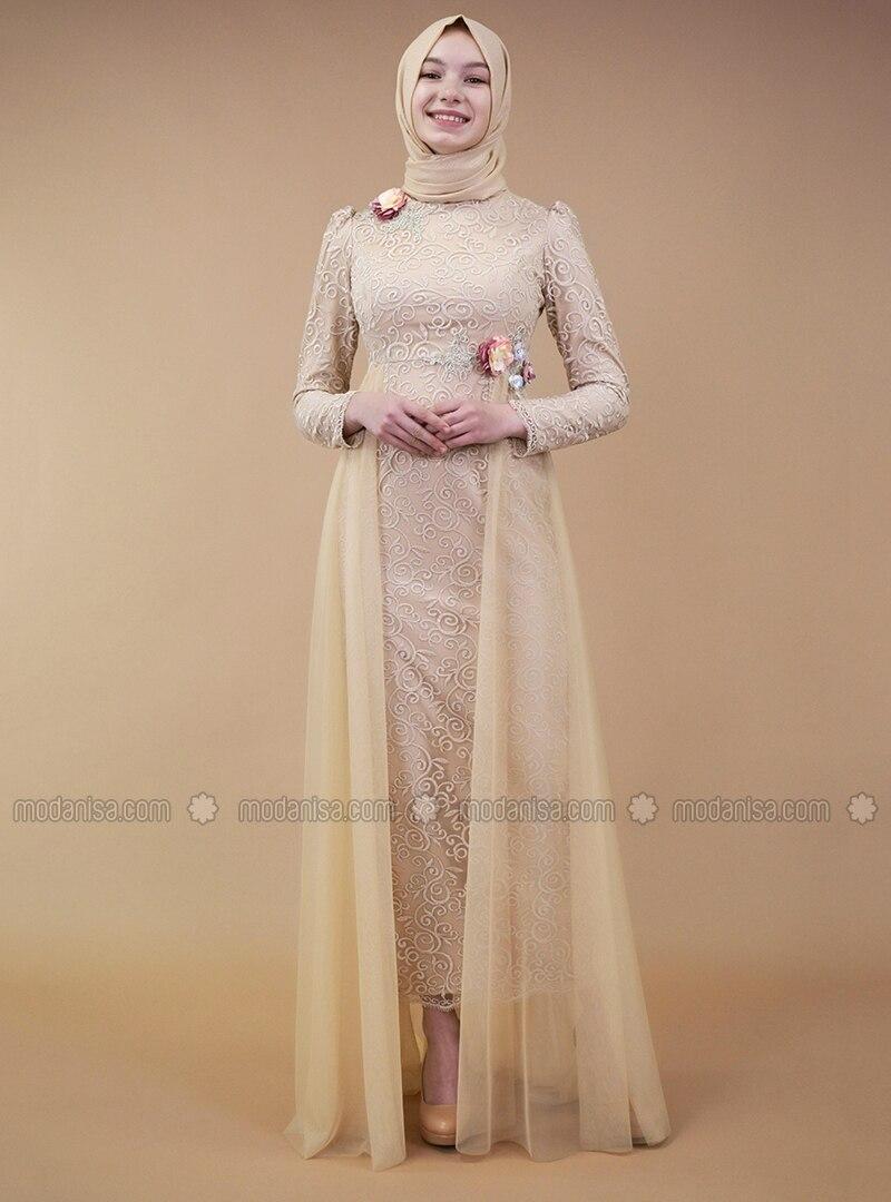 Beige - Muslim Evening Dress