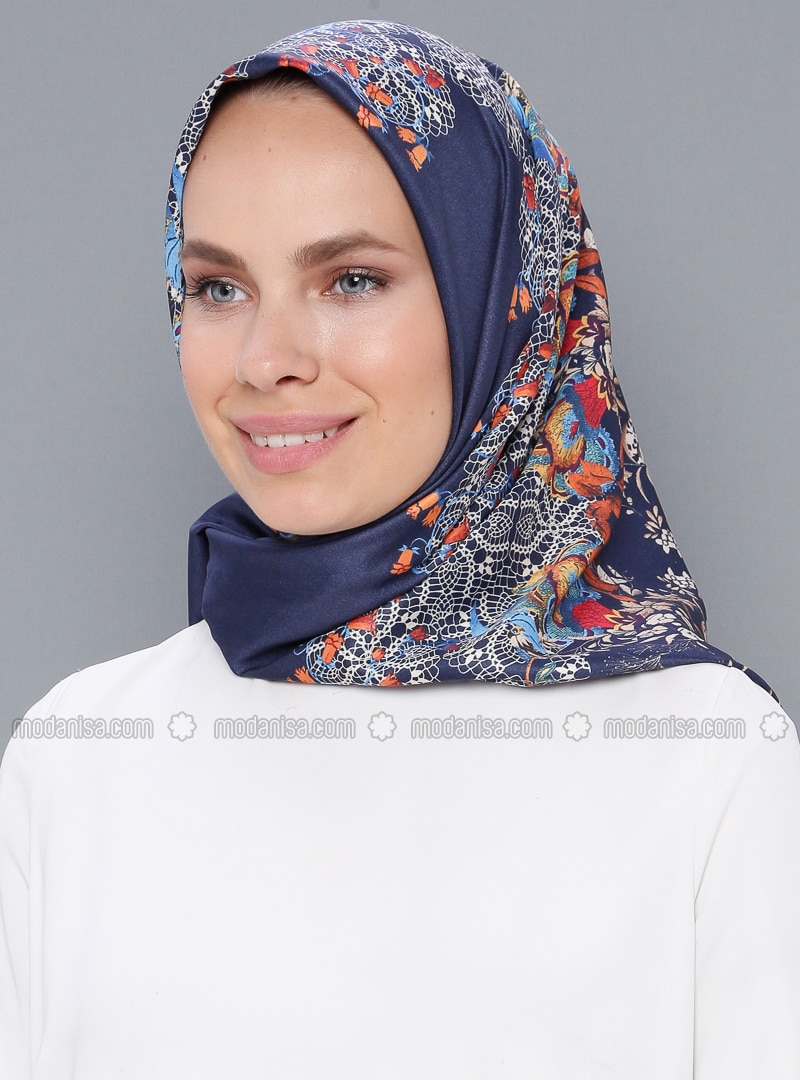 Navy Blue - Printed - Scarf