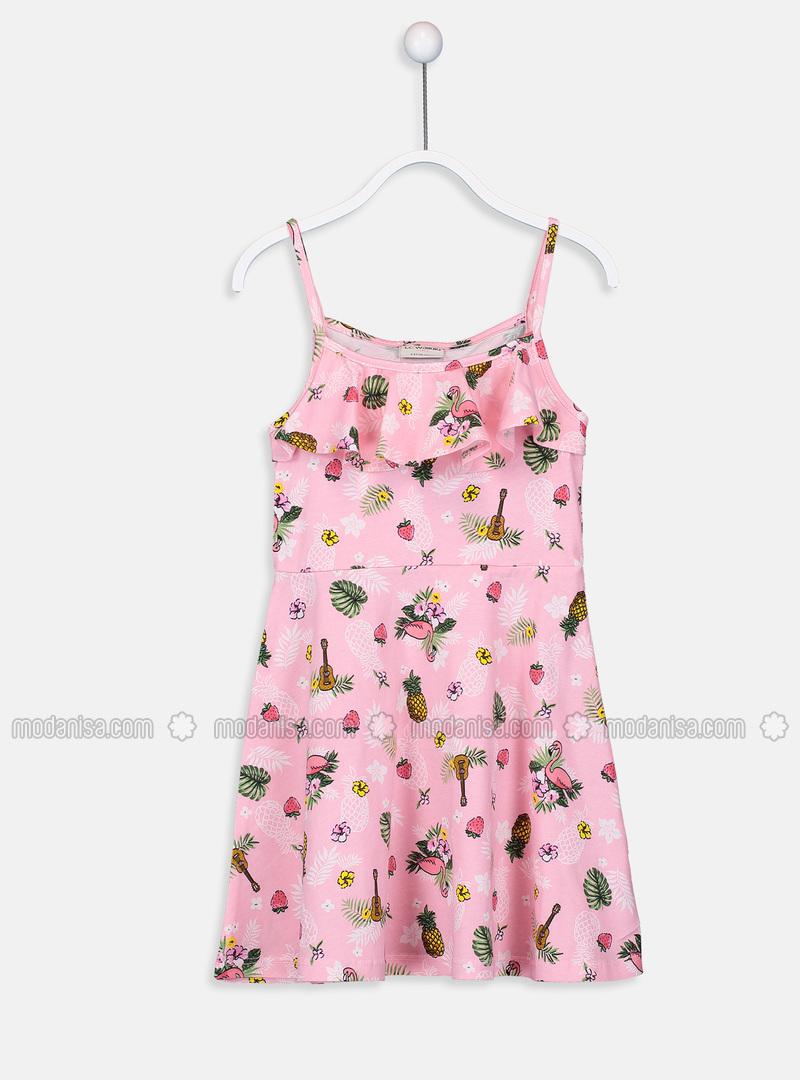 Printed - Pink - Girls` Dress