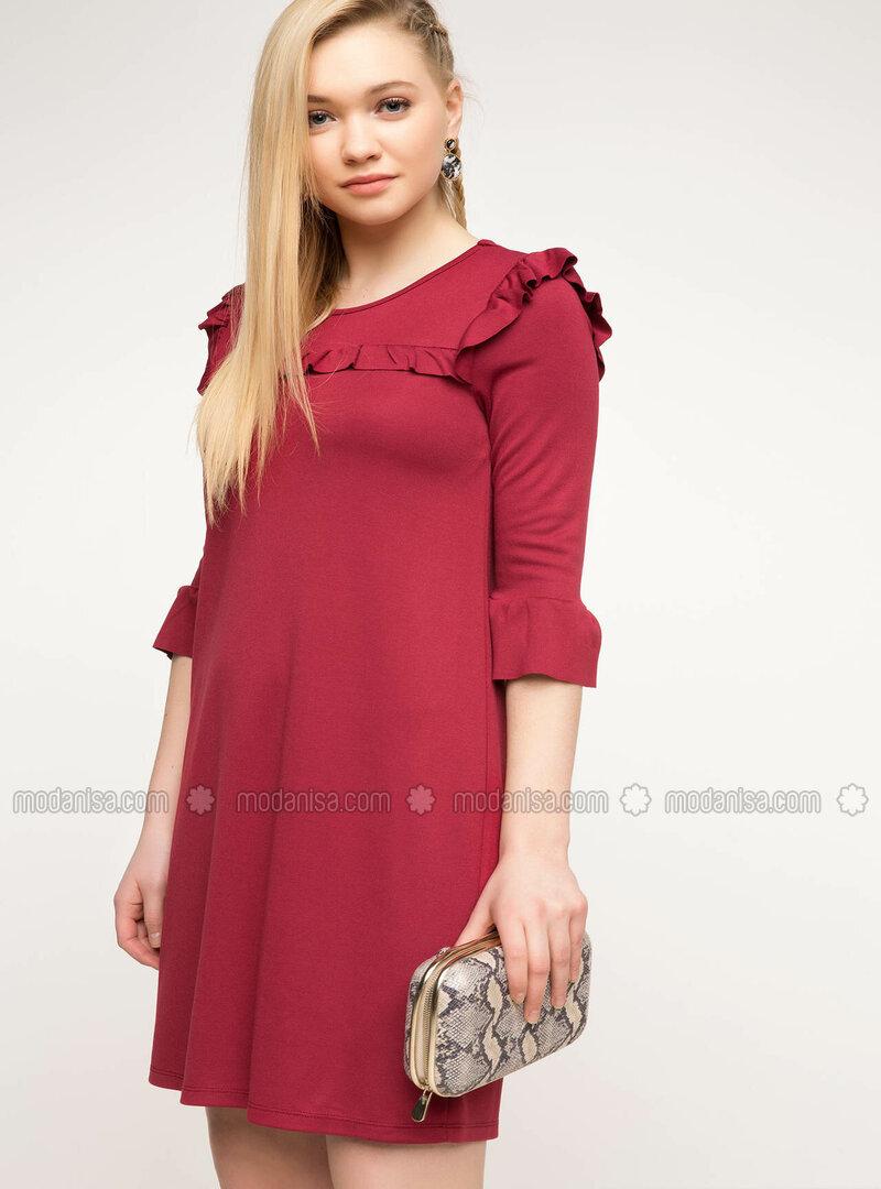 bab8377d7fd6d Fırfır Detaylı Elbise - Bordo